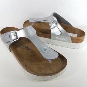 Birkenstock Papillio Silver Gizeh  slide Sandals